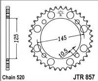 Rozeta YAMAHA XVS 125 DragStar (řetěz 520), rv. 00-04