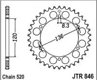 Rozeta YAMAHA FZR 400 RR EXUP (řetěz 520), rv. 90-95