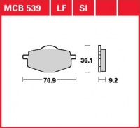 Zadní brzdové destičky Yamaha TZR 80, rv. do 91