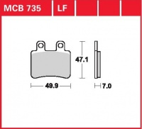 Zadní brzdové destičky Peugeot 125 Elyseo (G2A), rv. od 00